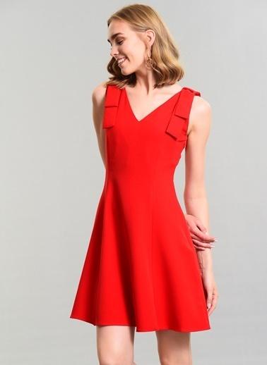 Agenda Fiyonk Detaylı Elbise Kırmızı